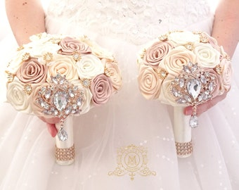 Champagne pearl bridesmaids brooch bouquet. Satin flowers jeweled matching maid of honor, mother of the bride, flower girl custom design.
