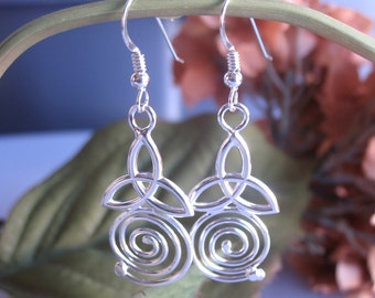 Celtic Spiral Trinity Knot Earrings with Dangle Hooks - Sterling Silver 925