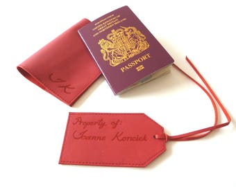 Set of Passport Holder and Luggage Tag, Red