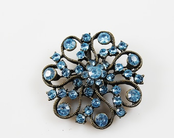 Vintage Antiqued Bronze and Blue Rhinestone Brooch