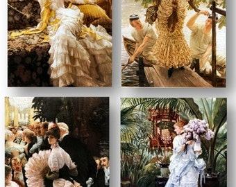 James Tissot, Classic Victorian Art, Society Women, Amazing Vivid Details, Set of 4 Prints