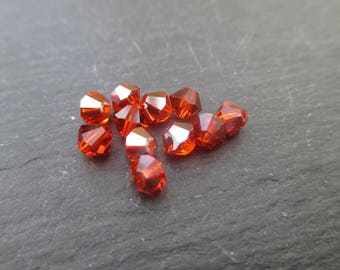 Swarovski 4 mm: 8 beads red topaz AB and non AB Crystal tops