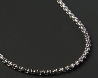 Box style chain necklace for men - Men's stainless steel necklace - Men's Jewelry - Silver necklace for men - stainless steel.