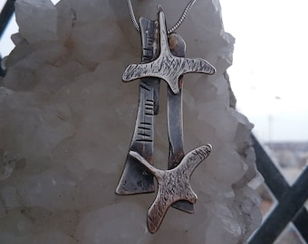 Sterling Silver Saoirse Freedom Birds Pendant with Ogham inscription