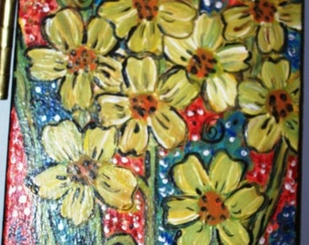 """11"""" x 14"""" yellow flowers bouquet (canvas painting)"""