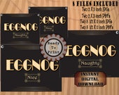 EGGNOG NAUGHTY & NICE Printable Signs ~ For Alcoholic and Non-alcoholic Christmas Nog ~ Black Art Deco 1920s Style Buffet Tags ~ Roaring 20s