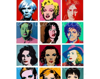 Printable Digital Collage Sheet - POP ART Andy Warhol Paintings - 1 and 2 inch tiles - Instant Download Printable