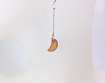 Pendulum, red mother of Pearl, silver Moon earrings