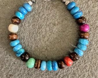Boho Bracelet, Turquoise Bracelet, Beaded Bracelet, Chunky Bracelet, Bohemian Jewelry, Southwestern Bracelet, Gypsy Jewelry, Bracelet Stacks