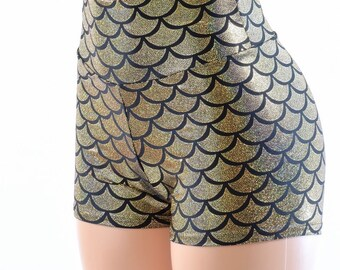 Gold Dragon Scale High Waist Mermaid Metallic Spandex Booty Shorts  142193
