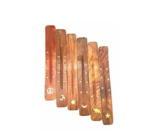Hand Crafted Wooden Ash Catcher Incense Holder Incense Burner - Peace, Om, Elephant, Sun, Moon, Star Inlay - Ideal for Incense Sticks, Cones