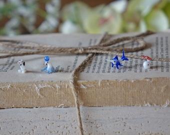 Vintage small glass figurines Tiny animals Seal Dog Blue fish White fish Blown glass art Glass animals figurines