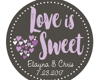 Love is Sweet Wedding Sticker Favors, Personalized Wedding Labels