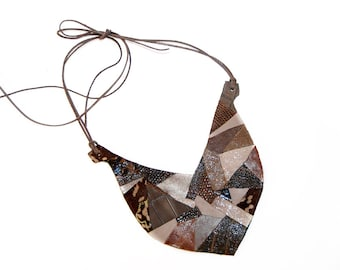 Geometric leather necklace. Brown pattern leather geometric handmade necklace. Bib necklace. Leather bib necklace. Brown jewelry.