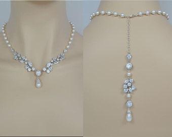 Bridal Zirconia Crystal Necklace, Swarovski Pearls Wedding Jewelry, Silver Tone, Tear Drop, Backdrop, Ester - Will Ship in 1-3 Business Days