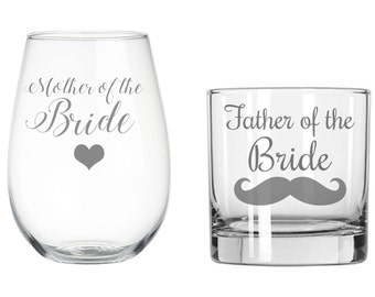 Set of (1) Etched Stemless Wine glass and (1) Whiskey glass, Mother of the Groom, Father of the Groom, Mother of the Bride, Father