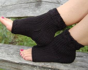 Knitted Pedicure Socks, Chunky Toe less Socks, Flip Flop Socks,  Cable Knit, Yoga Socks, Hand Knit Socks for Pedicure