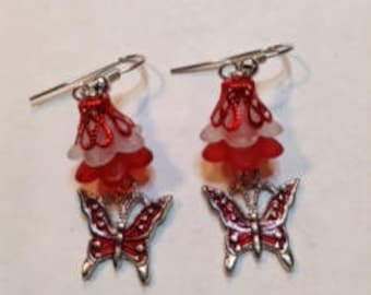 Red Butterfly Earring,Free Shipping, Enamel Red Butterfly Charm, Red & White Lucite Flowers, Great Gift For Her.