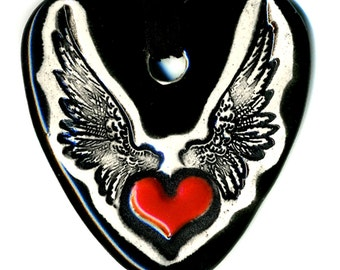 Heart with Wings Ceramic Necklace in Black