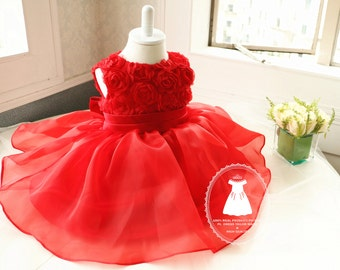 hot red baby girl christmas dress - 12 Month Christmas Dress