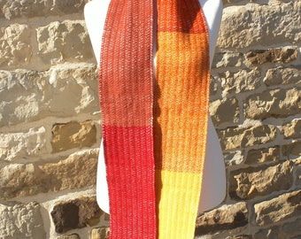 Red, yellow, orange Merino scarf hand woven