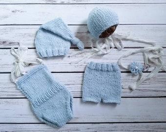 Newborn Mix and Match Props, Knit Bonnet,Wool Props,Newborn Shorts,Newborn Romper,Prop Set,Baby Knits,Newborn Knits,Ice Blue,Soft Pink,Pearl