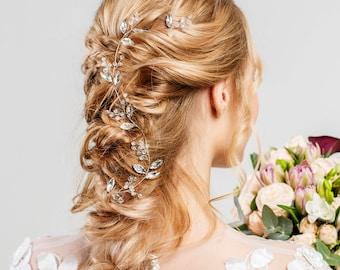 Bride Headpiece Bridal hair accessories Leaf hair vine crystal silver Rhinestone tiara bride crown Wedding headband prom Hair piece nature