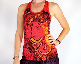 Women's Painted Ganesh OM 100% Comfy cotton Preshrunk Red Racerback Tank Top Screen print Yoga Active wear Workout Tank