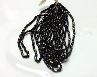 Vintage / Antique Carnival Maroon Purple Glass Hex Beads Mini-Hank