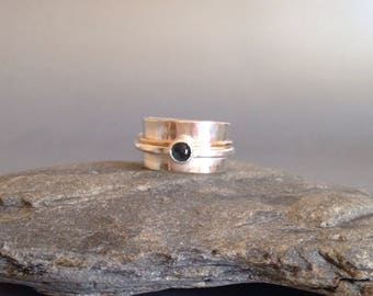 Wide Silver Ring - Mixed Metal Ring - Topaz Ring