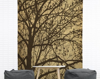Ljubljana Weeping Hanging Wall Tapestry, Home Decor, Dorm, Silhouette, Slovenia, Photography, Tree Wall Hanging, Headboard Tapestry, Brown
