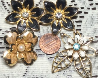 Three Vintage Flower Brooches