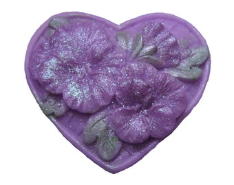 Pansy Soap - Organic Soap - Pansies   - Decorative Soap - Glycerin Soap -  Moisturizing Soap -  Heart Soap -  Fragrance Oil Lilac