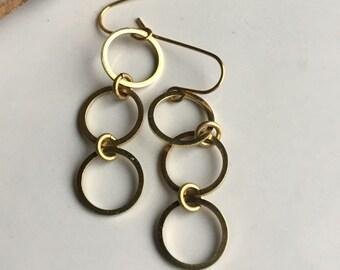 Dangle Brass Drop Earrings, Chandelier Earrings, Bridesmaid Gift, Brass Earrings, Hoop Earrings, Circle Earrings, Etsy, Etsy Jewelry