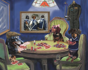 Poker Dogs Custom Pet Portrait Digital Painting on Canvas, Dog Portrait from your photos, dogs playing poker