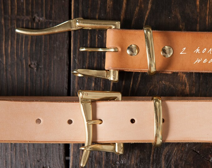 """1.5"""" Natural Vegetable Tanned Leather Quick Release Belt with Solid Brass or Nickel Plated Hardware - Made to Order"""