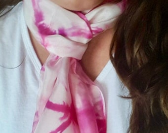 Rose Pink and Red Violet Tie-Dye Silk Scarf