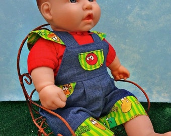 Veggie Overalls with Red Tee - 15 inch Doll Clothing