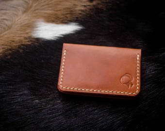 Slim Jim Card Wallet: Wickett & Craig Harness, Ritza 25 Tiger Thread, Brown Leather, Mens Leather Wallet, Handmade, Made in the USA,