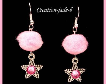 Dangling earrings - tassels pink stars - fantasy Christmas