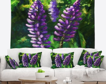 Designart Lupin Flowers Floral Wall Tapestry, Wall Art Fit for Wall Hanging, Dorm, Home Decor