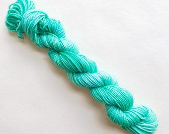 GREENWAY hand dyed yarn mini skein. sock fingering yarn, merino wool superwash knitting embroidery. sock mini 4 ply. medium green yarn