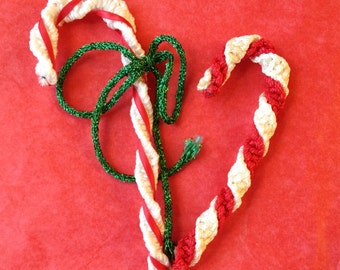 Vintage Christmas Candy Canes Red & White Braided Floss Yarn On Pipecleaner Holiday Ornaments Decorations