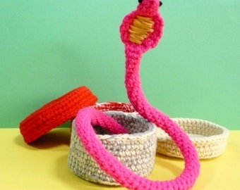 Amigurumi Crochet Pattern Snake Crochet Pattern PDF Instant Download Snake in Basket