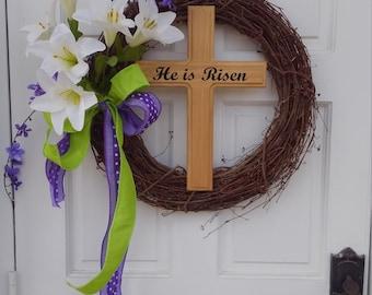 Wooden Cross, He Is Risen Wooden Cross, Easter Cross, He Is Risen, Wood Cross, Easter Decor, Cross Decor