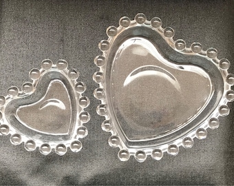 Vintage Candlewick Heart Dishes Stacking Trinket Bowls Ring Dishes