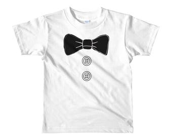 T Shirt Tuxedo for Kids - boys, toddler dress up shirt bow tie and buttons print