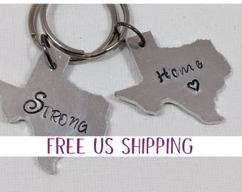 Texas Stong, Texas Keychain, Austin Texas, Texas Shaped Keychain, Handstamped Gift, Gift for Graduate, Housewarming Gift, Texas Native