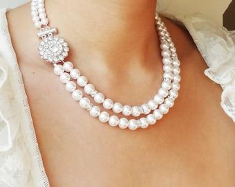 Pearl Bridal Necklace, Vintage Wedding Necklace, Art Deco Bridal Jewelry, Swarovski Crystal Pearl Necklace, Great Gatsby, Victoria