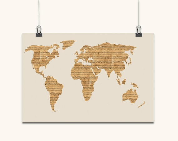 Map of the world from old sheet music art print canvas art gumiabroncs Gallery